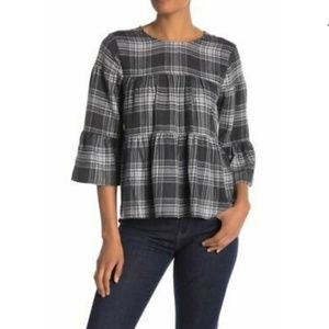 Vince Camuto Gray Plaid Tiered Ruffled Blouse XL